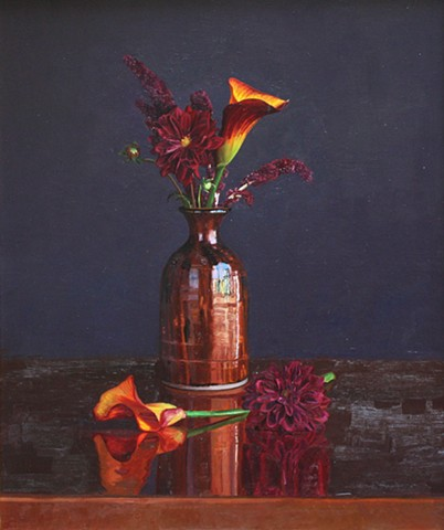 Flowers on Copper Vase II