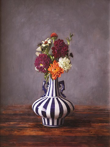 Flowers in Stripped Vase