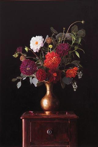 Floral in Brass Vase