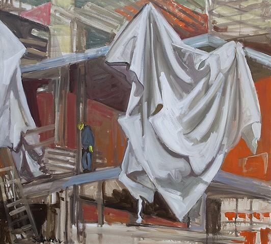 Construction, Curtain, Man