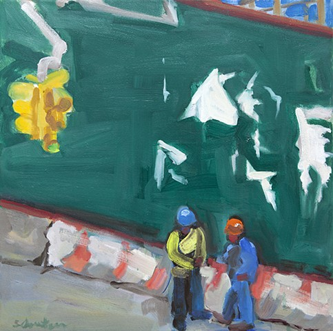 oil painting of construction workers