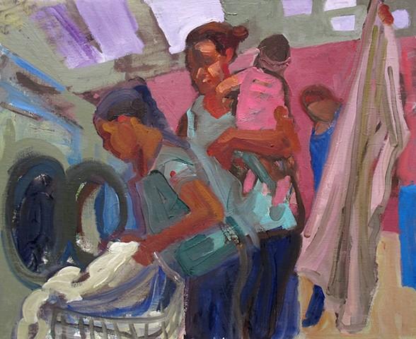 Laundromat- Mom and 2 Children