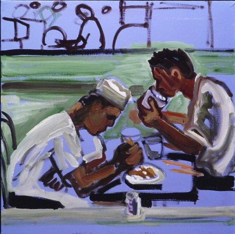 Restaurant workers eating
