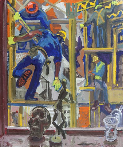 painting of construction workers