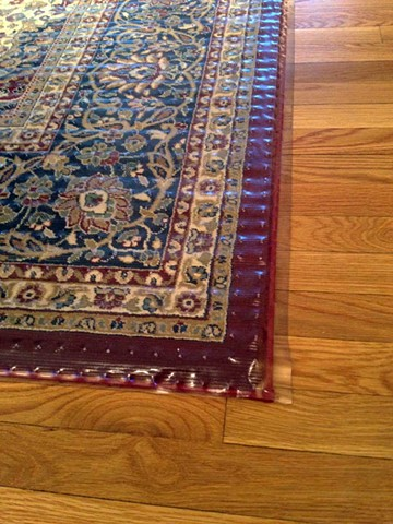 RIVER ROOM, 2013, Detail Oriental Rug with protective covering