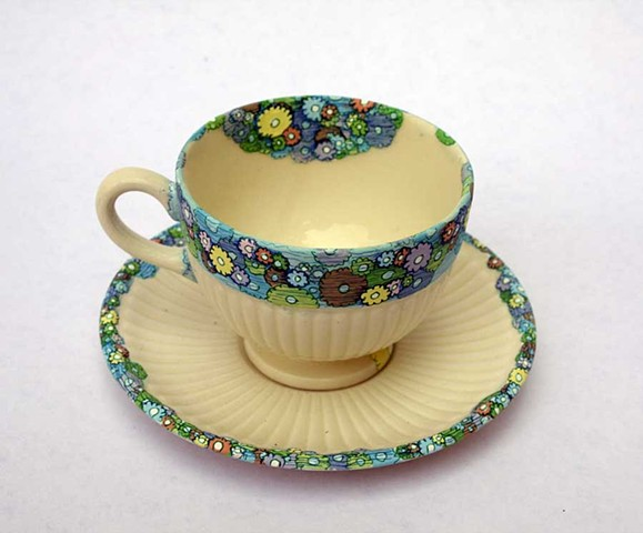 HAND PAINTED CHINA: Floral Oil Booms