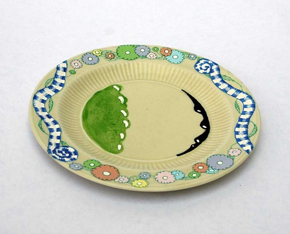 HAND PAINTED CAKE PLATE # 4 (One plate of a set of 6.)