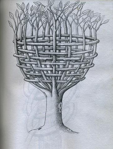 TREE: Basket Tree (B/W)