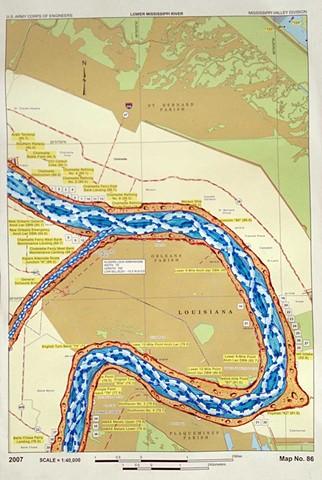 RIVER ROOM, 2013, Detail Lower Mississippi River Chart #86