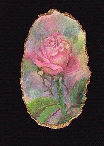 Tea rose, gold leaf, miniature, pink, rose, green