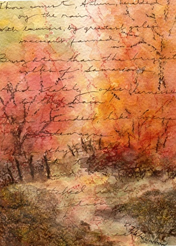 autumn trees, road and fences with poetry in script in background