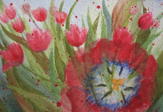 tulip, inside, outside,  red tulips, transparent watercolor
