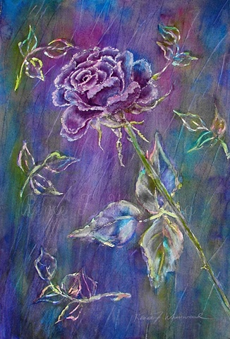 Rose in  blue, purple, green and pink painted by local Mc Kinney, TX Watercolorist