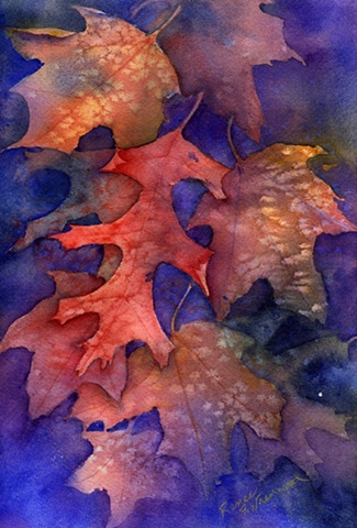 Leaves, deep blue, ultramarine blue, orange, yellow, red, autumn leaves, transparent watercolor