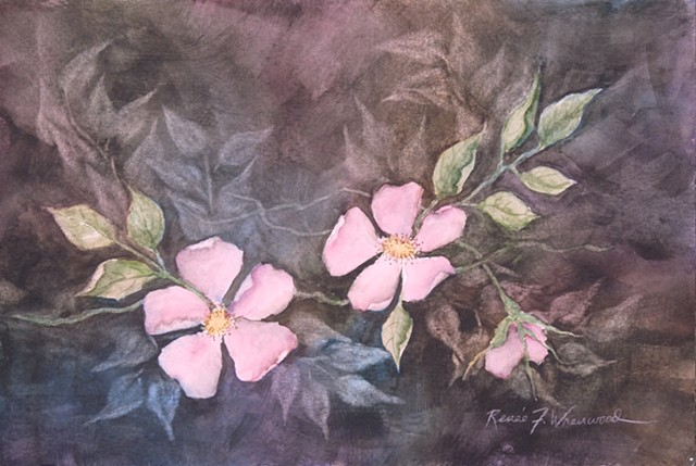 Watercolor of wild roses in the dim light of dusk.