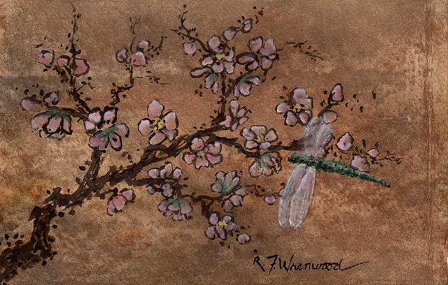 peach blossoms, dragonfly, watercolor, ink, brown, pink, green