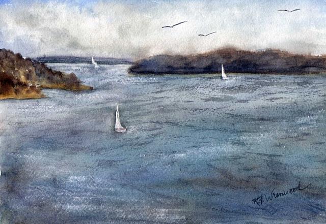 sailboat, lake, headlands, Lake Texoma, watercolor