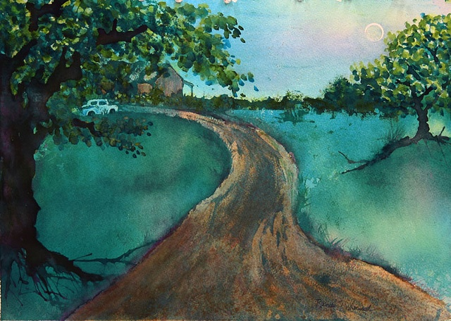 road, tree, old truck, watercolor pour, blue, moon