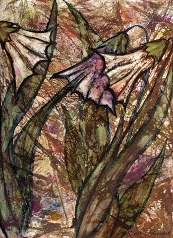 Fairie Bells: flowers on yupo