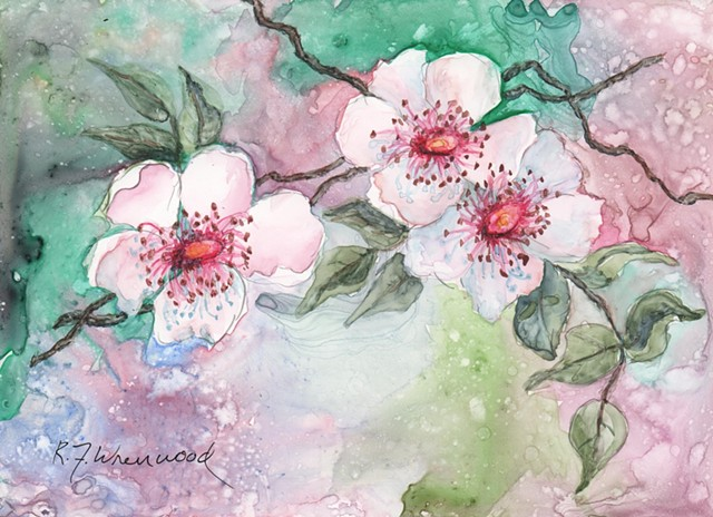 Single rose painting in Watercolor on Yupo in pinks and green
