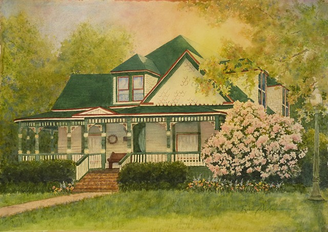 historic McKinney home calendar painting in watercolor