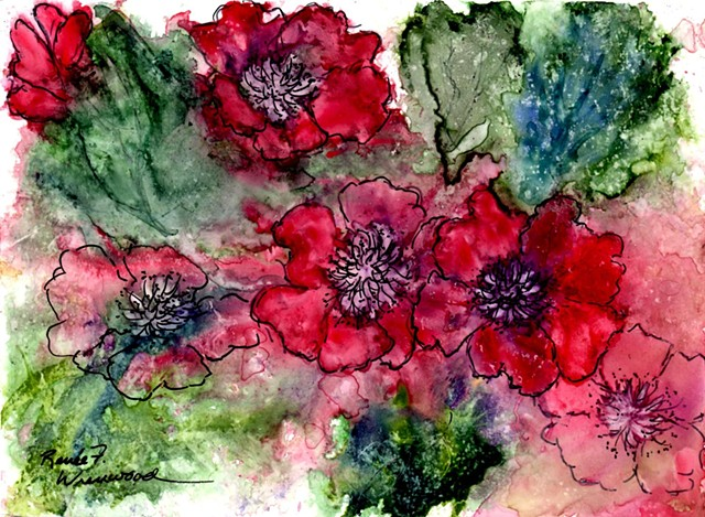Watercolor on Yupo in brilliant reds
