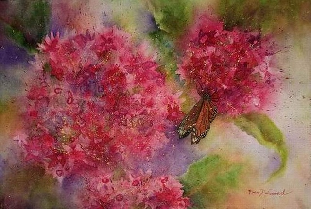 Watercolor McKinney, TX Pentas, flowers, blossoms, pink, magenta, mauve, monarch butterfly, watercolor