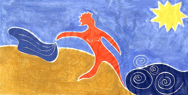 The Skinnydipper (Matisse Visits Herring Cove), White Line Woodcut