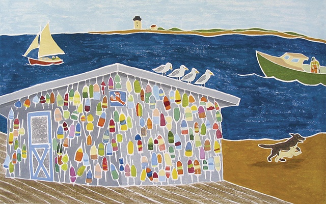 Lobster Shack, White Line Woodcut
