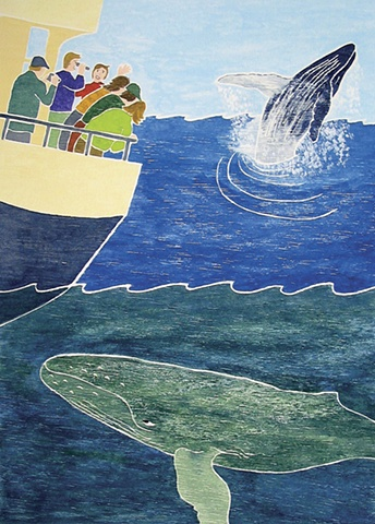 Whale Watch, White Line Woodcut