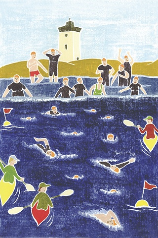 Swim for Life, White Line Woodcut