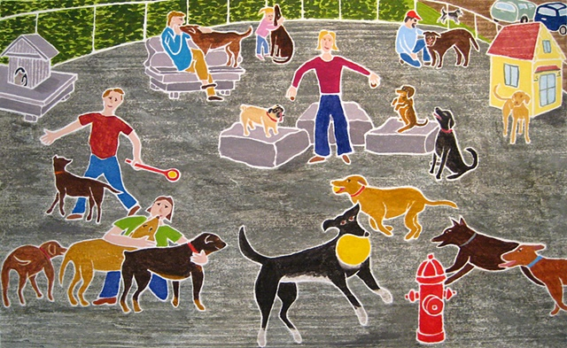 Bark Park, White Line Woodcut
