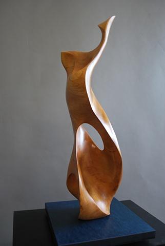 De la Mer II, wood sculpture, chainsaw, urban forest, reclaimed wood