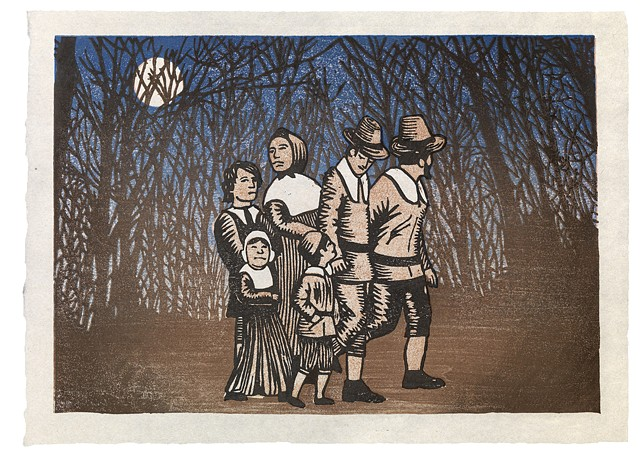 Moku hanga woodblock print of a group of pilgrims and forest night scene by Annie Bissett