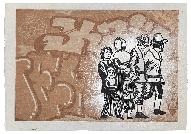Moku hanga woodblock print of a group of pilgrims and graffiti by Annie Bissett