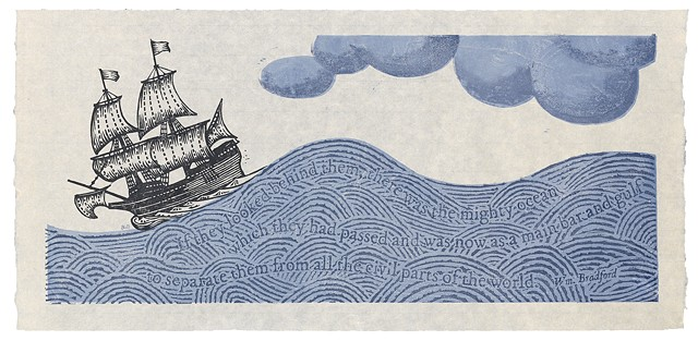 Moku hanga woodblock print of a ship, the Mayflower, and William Bradford quote