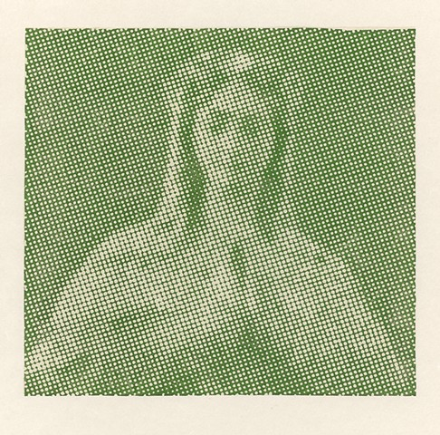 halftone woodcut of the Virgin Mary