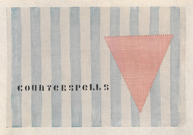 "Chapter opener for ""I Was a 20th Century Lesbian,"" image of pink triangle sewn over blue and white stripes"