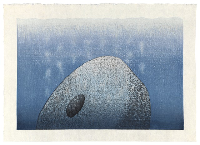 moku hanga woodblock print: image of a millstone sinking in water.