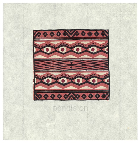 Woodblock print by Annie Bissett depicting an indian blanket pattern in black and red