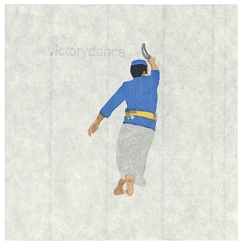Woodblock print by Annie Bissett depicting a male dancer dancing the bara'a or dagger dance