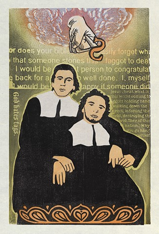 Moku hanga woodblock print of two homosexual puritan men by Annie Bissett