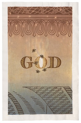 Moku hanga woodblock print by Annie Bissett of bees and the word God from back of a dollar bill. moku hanga