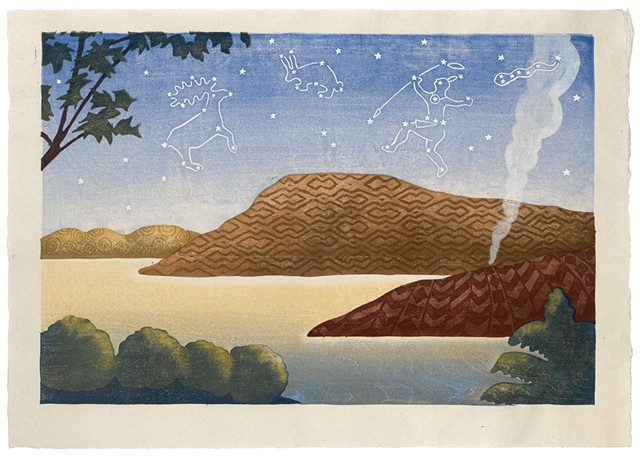 Moku hanga woodblock print of a tranquil scene, hills and constellations by Annie Bissett