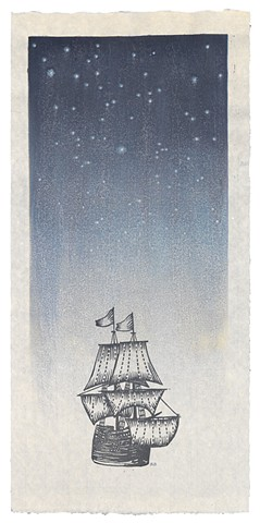 Moku hanga woodblock print of a ship, the Mayflower, and starry sky by Annie Bissett