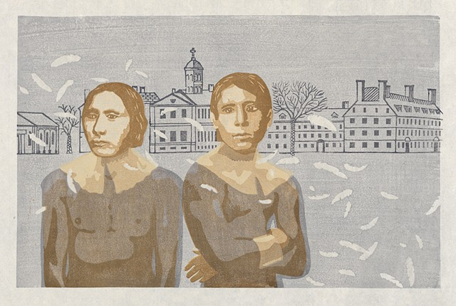 Moku hanga woodblock print of two native american men and college buildings in background by Annie Bissett