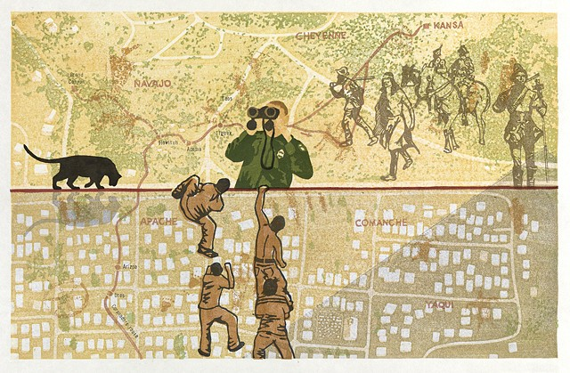 woodblock print of a map of the U.S. Mexico border with border guard, boys climbing fence, and Coronado by Annie Bissett