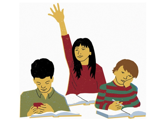 Illustration of three students in a classroom, one girl and two boys. The girs has her hand raised.