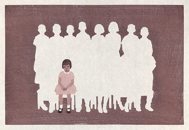 Moku hanga woodblock print by Annie Bissett showing a lonely child in a gradeschool class picture