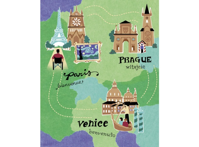 illustrated map of europe by Annie Bissett showing cities that are easily accessible by wheelchair